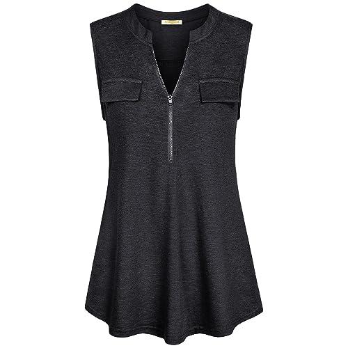 150b3609fc389 Baikea Women s Summer Half Zip Sleeveless Tunic Tank Tops Chest Flaps