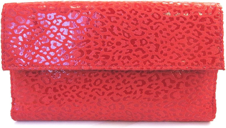 Leather wallet + checkbook holder 'Frandi' red (leopard).
