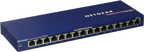 NETGEAR 16-Port Fast Ethernet 10/100 Unmanaged Switch (FS116NA) - Desktop, and ProSAFE Limited Lifetime Protection