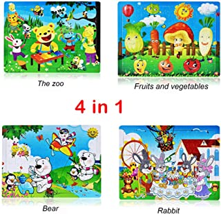 Roysberry Toys - Four Scenes The Zoo Vegetable Park and Family Kids Wooden Puzzles Toys 3D Puzzle Shape - Christmas Halloween Birthday Gift Toy Jigsaw Puzzles for Kids Ages 4-8(4 in 1)