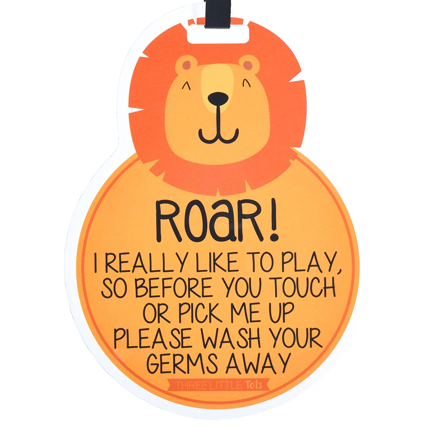 THREE LITTLE TOTS – Animal Theme No Touching Baby Car Seat Sign or Stroller Tag - CPSIA Safety Tested (Lion)