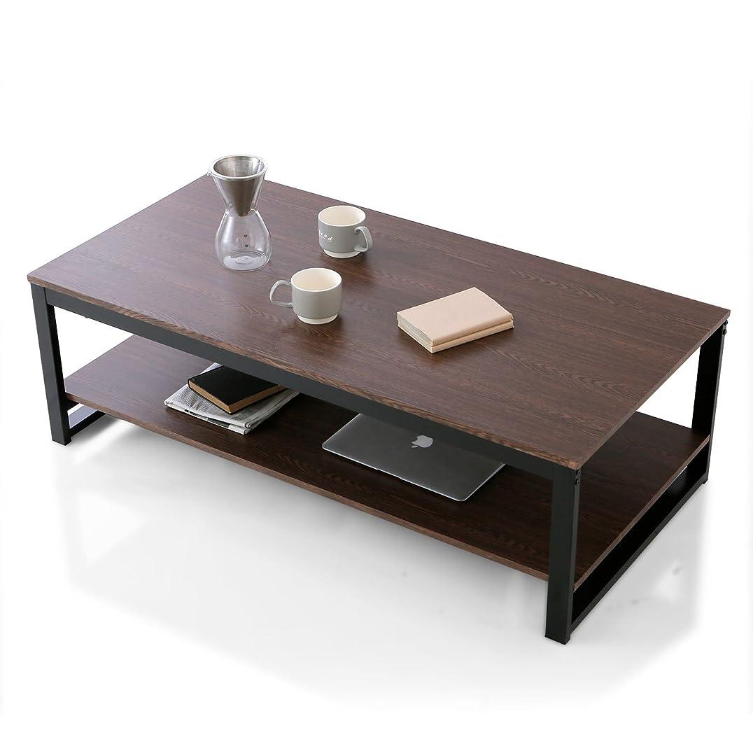 端立派な要求するLOWYA テーブル ローテーブル センターテーブル 収納付 幅120 ダークブラウン/ブラック