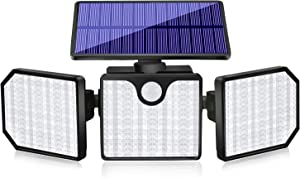 Aityvert Upgrade Solar Security Lights Outdoor, 230 LED Super Bright Adjustable 360° 3 Heads with 2 Modes, 33 FT Wireless Motion Sensor, Waterproof Flood Lights Wall Lamps for Garden Garage, 1 Pack