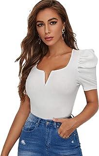 SheIn Women's Elegant Notch Neck Puff Short Sleeve Rib-Knit Blouses Shirts Tops