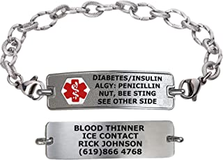 Divoti Custom Engraved Medical Alert Bracelets for Women, Stainless Steel Medical Bracelet, Medical ID Bracelet w/Free Engraving – Classic Tag w/Ridged Chain – Color/Size