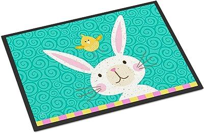 Caroline's Treasures Happy Easter Rabbit Door Mat, Multicolor