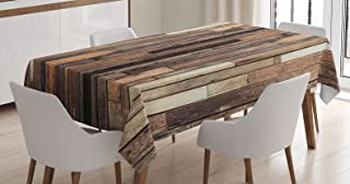 Ambesonne Wooden Tablecloth, Brown Old Hardwood Floor Plank Grunge Lodge Garage Loft Natural Rural Graphic Print, Rectangular Table Cover for Dining Room Kitchen Decor, 60