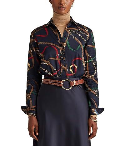 LAUREN Ralph Lauren Print Cotton Sateen Shirt (Lauren Navy Multi) Women