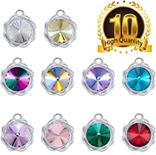 Rhinestone Pendant Charms 10pcs Round Shape Crystal Rhinestone Pendants for DIY Charm Bracelets Necklaces Jewelry Making,15mm