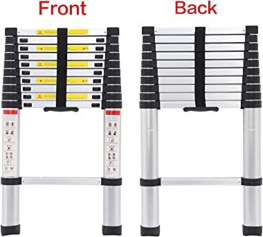 10.5FT Telescopic Ladders Aluminum Extendable Steps 330LB Capacity Straight Ladder for Decoration Outdoor Indoor Portable Com