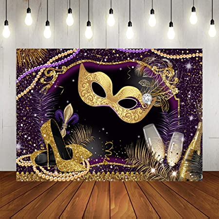 Zhy Gold Mask Brown Silk Photography Backdrop 7X5FT Thin Vinyl Masquerade Party Dress-up Party Background Studio Photo Booth Props GEEV417