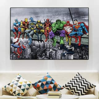 Fenfei Wall Art Cartoon Poster Canvas Painting Abstract Skyscraper Superheroes Wall Pictures for Kids Living Room Cuadros Home Decor 60cm x90cm No Frame