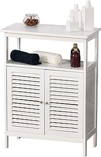 kleankin Mueble de Baño Armario Auxiliar para Baño con 2 Puertas de Persianas Estante Abierto Gran Espacio de Almacenamiento Diseño Moderno 60x30x81,6 cm Blanco