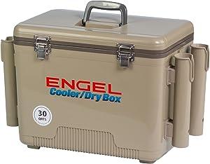 ENGEL Cooler/Dry Box with 4 Rod Holders - 30 Qt - Tan (UC30T-RH)