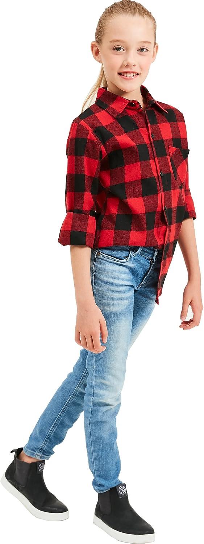 Grandwish Ragazzi Camicie a Quadri Manica Lunga per Ragazze 2 Anni 12 Anni