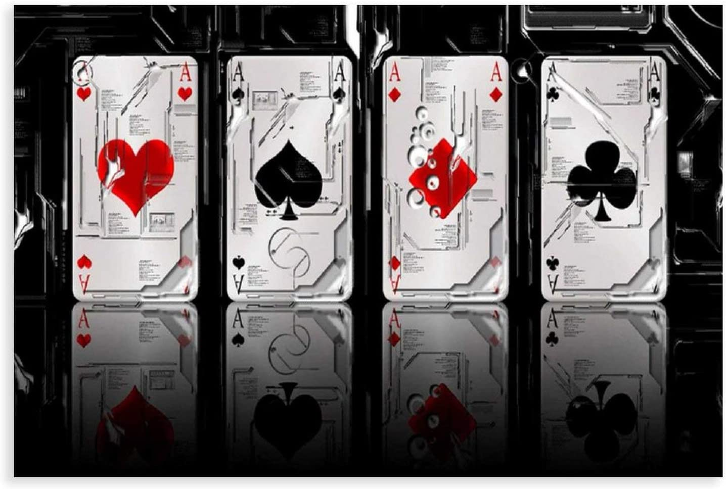 Decorative Painting Graphics Art Sci-fi 4 Aces Playing Cards Poker 3D Art Bokeh Canvas Poster Wall Art Decor Print Picture Paintings for Living Room Bedroom Decoration Unframe:12×18inch(30×45cm