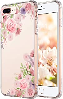 iPhone 5s Girls Case,iPhone SE Women Case,Pink Flowers Floral Blooms Purple Green Leaves Trendy Simple Elegant Spring Summer Tropical Vintage Rose Daisy Compatible Clear Soft Case for iPhone 5S/SE