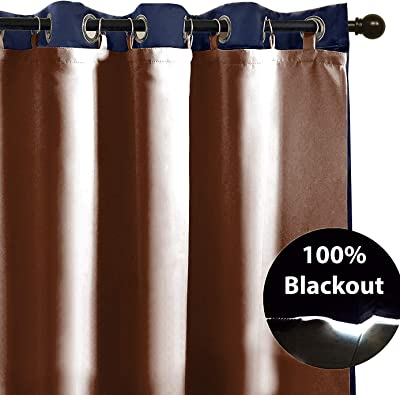 """Casableu Zerolight Blackout 50""""x 80"""" Liner Curtain Cream Single.Polyester. Rings Included (Brown, 50 x 80 inch)"""