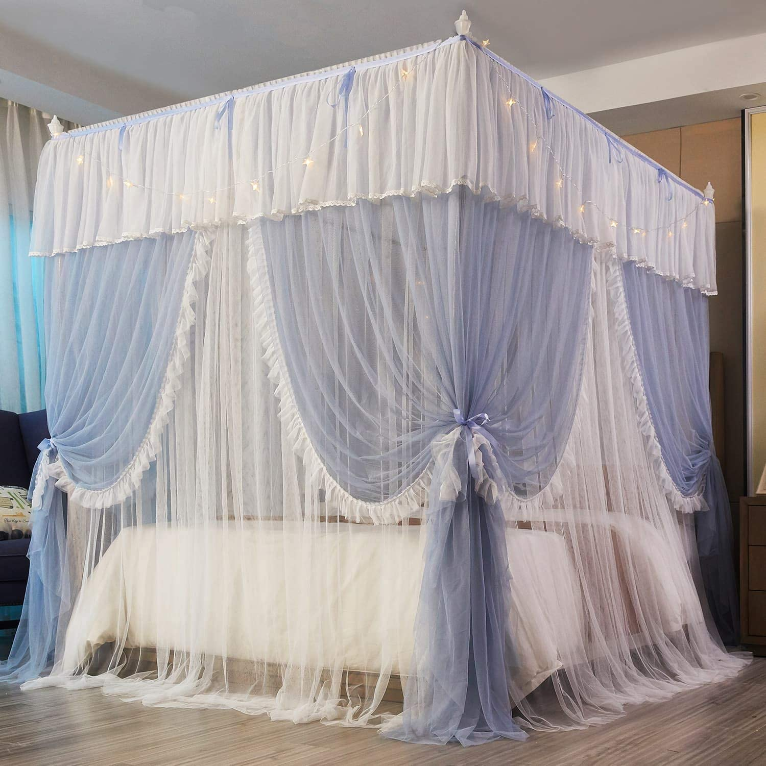 Mengersi 4 Corners Post Canopy Bed Opening with Lights-4 Curtain safety High material