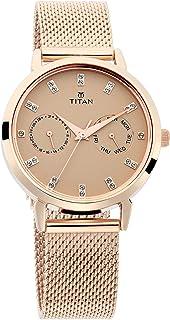 Titan Sparkle Women's Multi-Functional Dress Watch with Swarovski Crystals | Quartz, Water Resistant, Mesh Band
