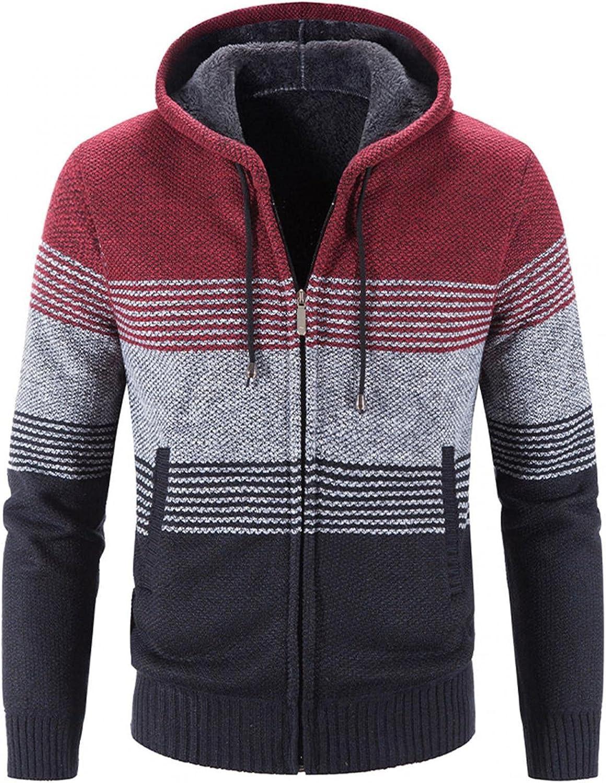 LEIYAN Mens Casual Knit Hooded Pullover Long Sleeve Drawstring Graphic Thicke Warm Jackets Knitwear