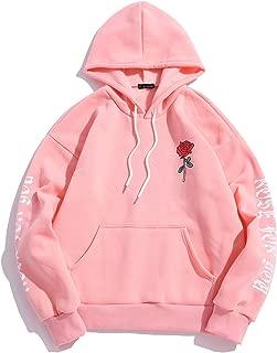 ZAFUL Men's Rose Letter Fleece Kangaroo Pocket Pullover Drawstring Hoodie Sweatshirt