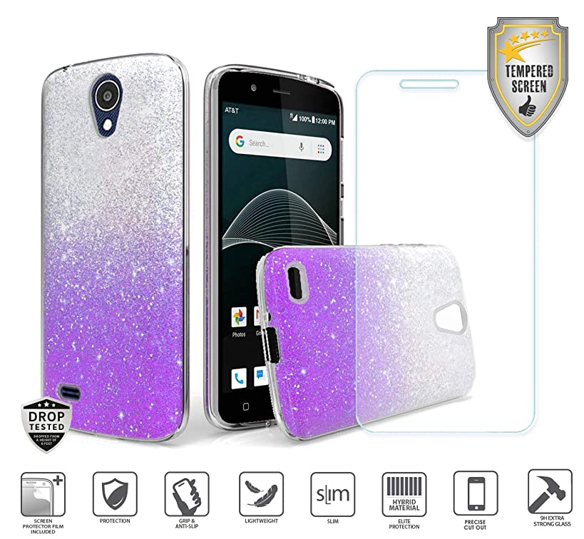 Compatible for At&t Axia QS5509a Case, Cricket Vision Case, with Tempered Glass Screen Protector, Premium Design Case for Women Girl Glitter Shiny Hybrid Tough TPU [Shockproof] (Purple)