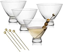 Stemless Martini Glasses Set – 4 Crystal Cocktail Cups with 4 Gold-Plated Picks – Lead-Free, Handmade by Lumi & Numi, 10 Oz.