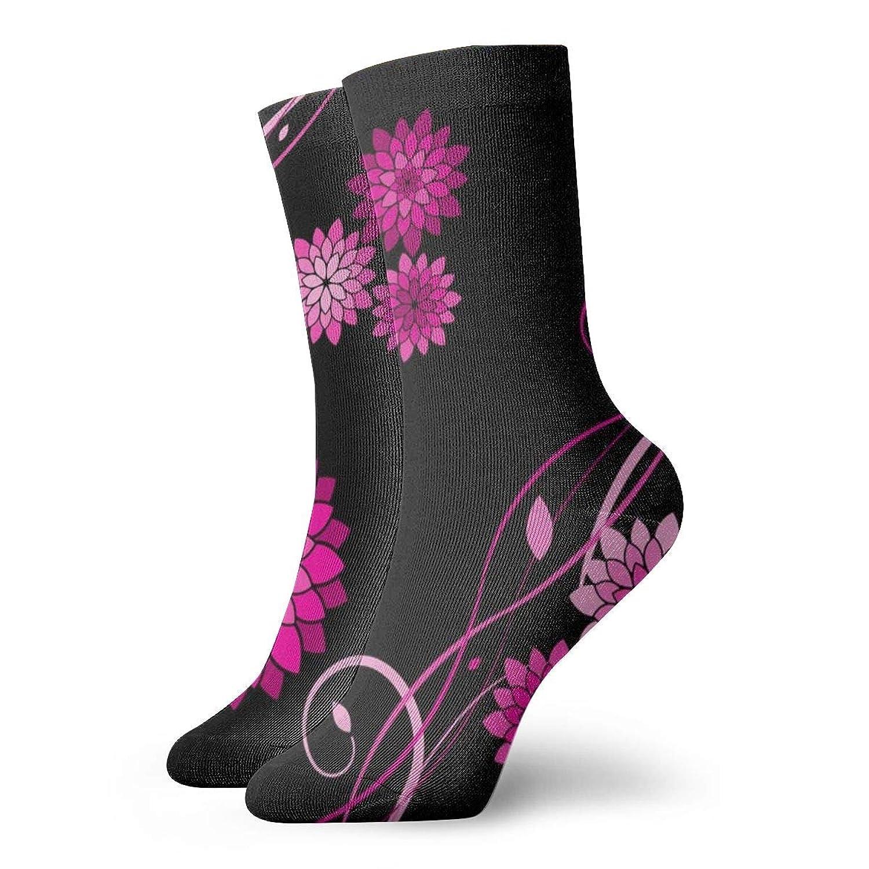 ダリアの花ブラックピンクファッショナブルなカラフルなファンキー柄コットンドレスソックス11.8インチ