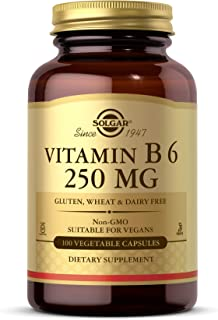 Solgar Vitamin B6 250 mg, 100 Vegetable Capsules - Supports Energy Metabolism, Heart Health & Healthy Nervous System - Non...
