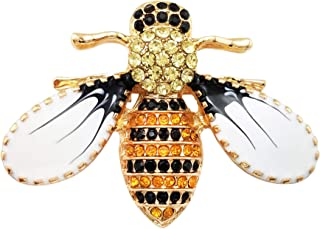 Lovely Yellow Black Austrian Crystal Honeybee Insect Brooch Pin for Women Girls Gold Tone