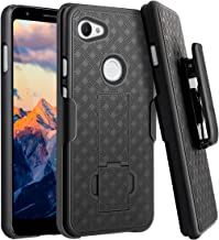 Fingic Google Pixel 3a XL Case, Pixel 3a XL Case Combo Shell Holster Case Slim Fit Shell with Swivel Belt Clip Holster Bulit-in Kickstand Protective Cover for Google Pixel 3a XL Case (2019) - Black