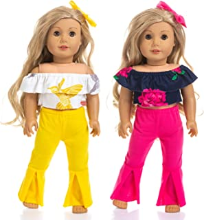 ZITA ELEMENT 2 Sets Fashion American 18 Inch Girl Doll Off Shoulder Clothes for 18 Inch Doll Clothes Outfits - 2 Off Shoulder Shirts Match 2 Bell-Bottomed Pants and 2 Hair Clips