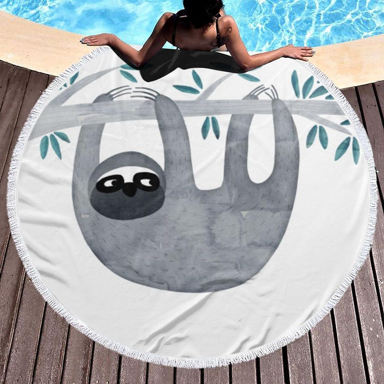 Round OFFer Beach Towel Sloth Oversized Finally resale start Microfiber Super-Size Qu