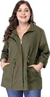 Women's Plus Size Lightweight Stand Collar Drawstring Utility Jacket
