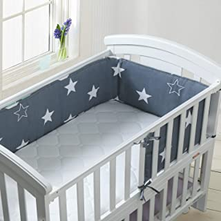 ULLENBOOM Baby Cot Bumper I Cotton Crib-Liner for Sleep Protection I with Soft Padding I 145 x 24 cm Blue Light Blue Grey