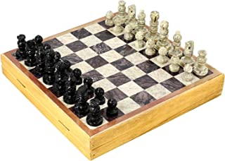 INA KI Hand Made Gift for Chess Lovers from Natural Wood & Stone , Chess Sets and Board -Indian Handmade Unique Gifts 10 Inches