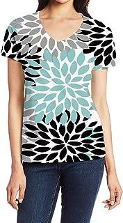 Women`s Tops Tees Fun T Shirts for Women Girls, Short Sleeve V Neck Casual Shirts, Simple Flower Dahlia Grey Black Blue