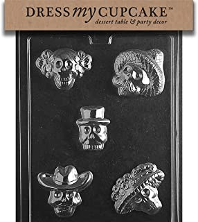 Dress My Cupcake Chocolate Candy Mold, Day of The Dead Skulls, Halloween