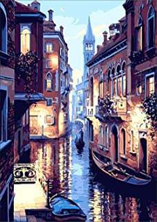 Water City Scene Diamond Painting - PigPigBoss 5D Full Round Drill Diamond Painting by Numbers - Crystal Diamond Dot Kits ...