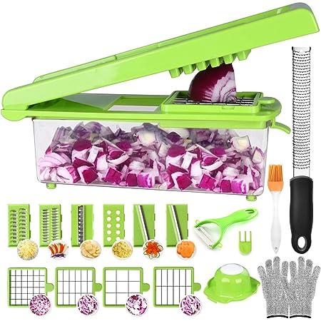 Mandoline Cuisine Acier Inoxydable - 24 Pcs Multifonction Coupe-légumes (Avec Boîtes De Rangement) Decoupe à Oignons Couper en dés/émincer/gratiner,Zesteur Râpe Libre (24cm)