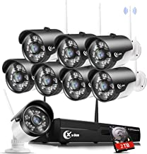 XVIM H.264 2MP Wireless Security Cameras System, 8CH 1080P HD NVR 8pcs 1080P Wireless Outdoor Indoor Waterproof Surveillance Cameras 85FT Night Vision (with 2TB HDD)
