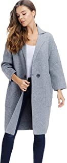 Alexander + David Womens Sweater Trench Coat Jacket - Button Knit Long Overcoat
