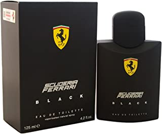 Scuderia Ferrari Black | Eau de Toilette Natural Spray | Fragrance for Men | Aromatic Fougere with Citrus, Fruit, Cinnamon, and Vanilla Scent | 125 mL / 4.2 fl oz