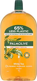 Palmolive Antibacterial Liquid Hand Wash Soap White Tea Refill and Save 0% Parabens Recyclable, 1L