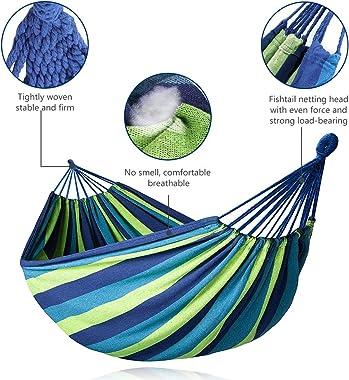 DASIAUTOEM Hammock, Cotton Canvas Hammock Portable Camping Hammock Up to 450 lbs Load Capacity Durable Hammock Outdoor Garden