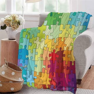 SSKJTC Digital Printing Blanket Colorful Puzzle Pieces Fractal Children Hobby Activity Leisure Toys Cartoon Image Multicolor Dorm Bed Baby Cot Traveling Picnic W60 xL80