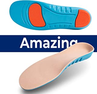 Sport Inserts Gel High Arch Support Shock Absorption Athlete Insoles Super Comfortable Relieve Flat Feet Plantar Fasciitis Breathable Cushion Insoles(S 25.5CM Men 6-7 / Women 8-9.5 / Big Kids 6.5-7.5)