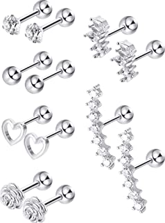 Blulu 6 Pairs Stainless Steel Tragus Cartilage Earrings Labret Studs Barbell Lip Nose Body Stud Piercing for Men Women Orn...