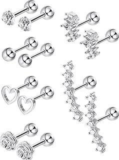 Adramata 6 Paires Acier Inoxydable CZ Boucles doreilles pour Femmes Filles Cartilage Clous doreilles Visser en arri/ère Argent Tone 3-8mm